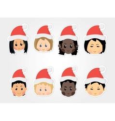 christmas funny kids icons vector image