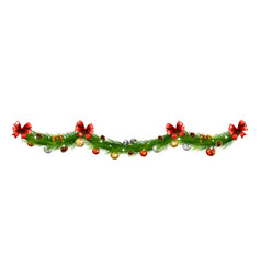 christmas garlands with balls pine cones ribbon vector image
