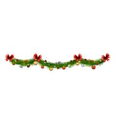 christmas garlands with balls pine cones ribbon vector image