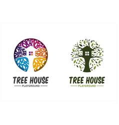 Circle tree house logo set 2 vector
