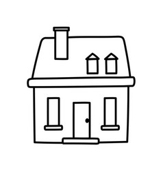 classic house facade chimney icon thick line vector image
