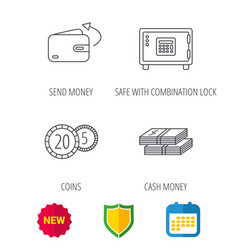 coins cash money and wallet icons vector image