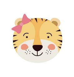 Colorful caricature cute face of female tigress vector