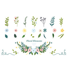colorful hand drawn floral elements vector image