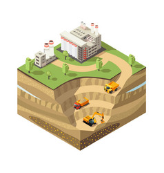 Colorful isometric diamond mining concept vector