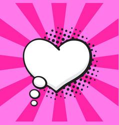 comic speech bubble thoughts heart shape vector image