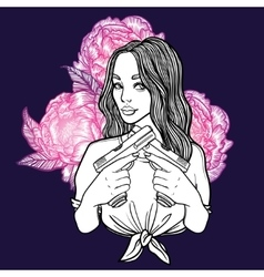Criminal beautiful girl with two guns and flowers vector