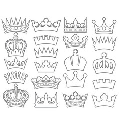 crown thin line collection vector image