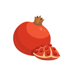 cut pomegranate icon cartoon healty fruit vector image