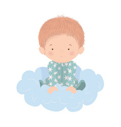 Cute baboy over cloud design vector
