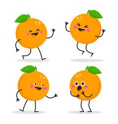 cute cartoon orange character set vector image