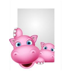 cute couple hippo cartoon vector image