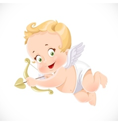 Cute little cupid aiming an arrow isolated on a vector image