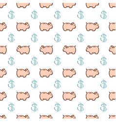 cute piggy bank and dollar sign seamless pattern vector image
