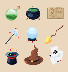 Different symbols of wizards and magicians vector