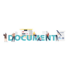 Document office work concept male female vector
