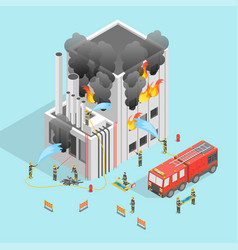 firefighter and building on fire concept 3d vector image