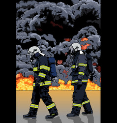 Firefighters and big fire vector