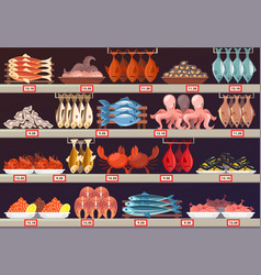 Fish food at shop or store stall with prices vector