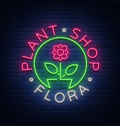 flower shop plants florist flora emblem sign vector image
