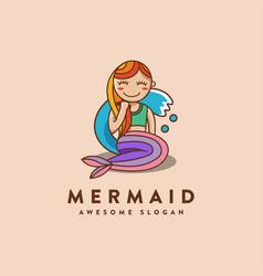 fun mascot cartoon mermaid logo icon vector image
