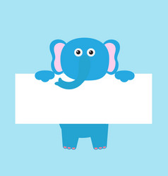 Funny elephant hanging on paper board template vector