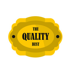Golden quality label icon flat style vector