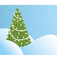 Green Christmas tree in the snow vector