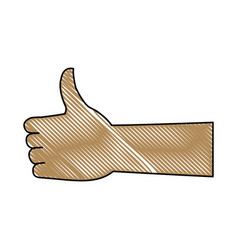 Hand with thumb up like ok gesture icon vector