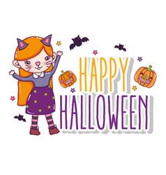 happy halloween card cartoons vector image