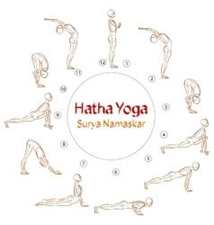 Hatha Yoga Surya Namaskar asanas vector