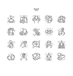 Health issues thin line icons vector