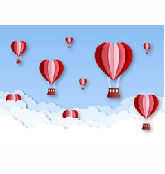 heart air balloon paper cut hot air balloons vector image