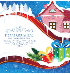 House and Christmas gifts vector
