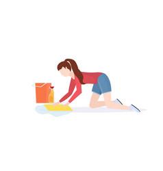 housewife washing floor on knees woman cleaner vector image