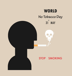 Human head and quit tobacco signmay 31st world no vector