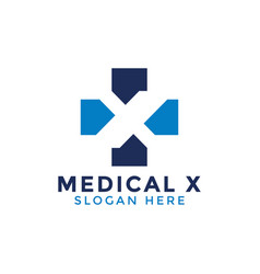 initial letter x medical logo icon design template vector image