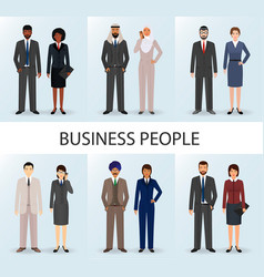 international business team set of couples office vector image