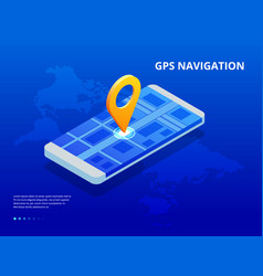 isometric gps navigation in the phone with a red vector image