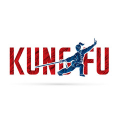Kung fu action designed with text font fu vector