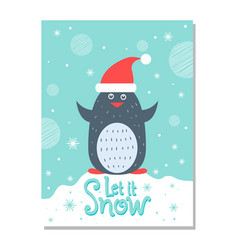 let it snow greeting christmas card with penguin vector image