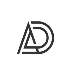 letter ad logo linear art design vector image