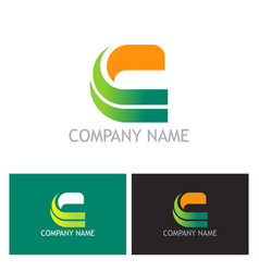 letter c shape colored company logo vector image
