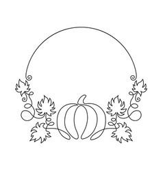 line art vintage round pumpkin frame vector image
