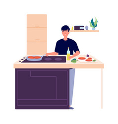 man cooking breakfast guy on kitchen frying or vector image