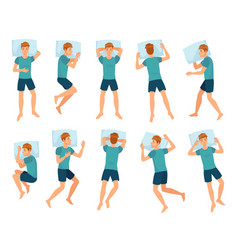 Man sleeps in different poses male character vector