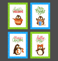 merry christmas holly jolly penguin posters set vector image