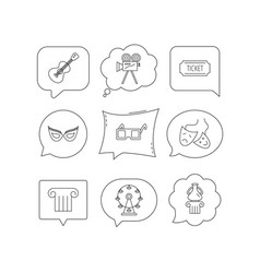 museum guitar music and theater masks icons vector image