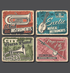 music instruments and live concert retro posters vector image