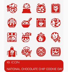 National chocolate chip cookie day icon set vector